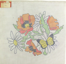 """Vintage 1970's Hand Painted Needlepoint Canvas """"2500"""" Forgotten Daisies 13-Ct"""