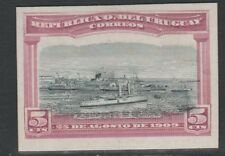 Uruguay 4776 - 1900 CRUISER IN PORT MONTEVIDEO 5c IMPERF COLOUR TRIAL on card