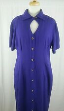 VINTAGE Betsy Lauren Purple Fully Front Button Up Dress Sz 11/12