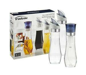 High Quality Trudeau 3 Pieces Oil-Vinegar Bottles, Oil Spray Pump - Clear Glass