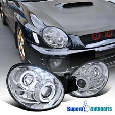 For 2002-2003 Subaru Impreza WRX RS LED Dual Halo Projector Headlights Clear