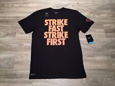 "Nike Soccer ""Strike First Stike Fast"" Graphic Dri-FIT Shirt Black Red 640950 010"