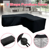 Patio Sectional Sofa Cover V-Shape Furniture Protector Outdoor Garden Couch Cove
