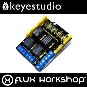 Keyestudio 4 Channel Relay Shield for Arduino UNO 120V DC Arduino Flux Workshop