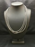 """Native American Sterling Silver Navajo Pearls Necklace 21"""" 3 Str Gift 4mm 8973"""