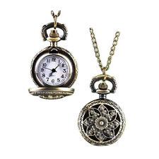 Men Women Vintage Hollow Windmill Bronze Quartz Pocket Watch Necklace Healthy