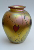 Gold Luster Vase With Red Heart Deisgn by Saul Alcaraz.