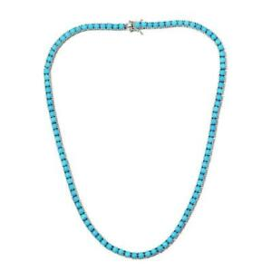 """Gorgeous Sleeping Beauty Turquoise Tennis Necklace 18"""" in 14kt White Gold Over"""