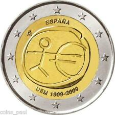 Spain  2 euro 2009,  EMU  Europian Monetary Union  ,  Commemorate  UNC from roll