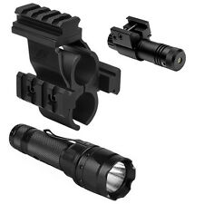 Tactical MultiRail Shotgun Mount + Green Laser + LED Flashlight For Mossberg 590