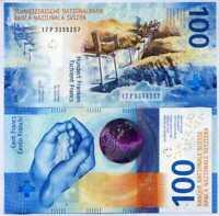 SWITZERLAND 100 FRANCS 2019 P NEW DESIGN BLUE UNC
