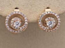 18K Yellow Gold Filled Earrings Clear Zircon Topaz Whirlpool Ear Hoop Stud Party
