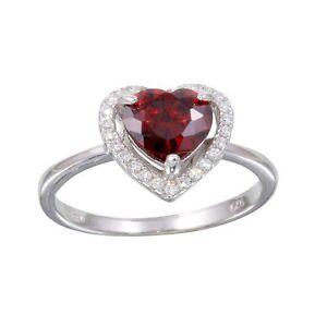 HALO HEART RING W/ LAB DIAMONDS & RUBY/ SZ 5 - 9/925 STERLING SILVER