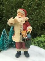 Miniature Dollhouse Figurine ~ CHRISTMAS Standing SANTA Claus w/ List & Toy Sack