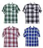 CalTop USA Men's Casual Short Sleeve Button Down Checkered Plaid Shirt