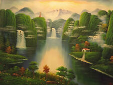 magical fairy forest landscape trees lake huge oil painting canvas original