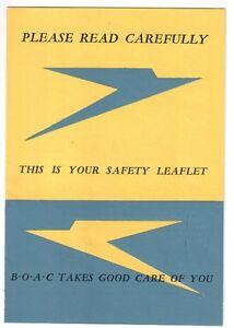 BOAC VINTAGE SAFETY CARD LEAFLET 1949 B.O.A.C.