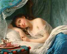 Stunning art Oil painting Buhler Fritz Zuber - Nice young girl in bedroom on bed