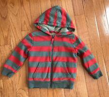 Mini Boden Boys Orange Tan Striped Shaggy Fleece Lined Hoodie Jacket 3-4 Years