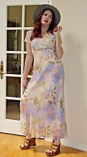 VTG style RARE Boho Hippie SHEER Silk Pastel FLORAL FESTIVAL MAXI dress
