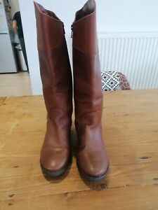 Brown Leather Knee High Boots Size 5 by Zara