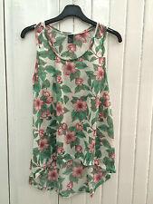 BNWOT Ladies Green & Pink Floral Vest Top Size XS 8