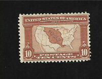 US Stamps Scott # 327 Louisiana Purchase-10¢ Map of Purchase Brown  MH