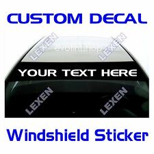 Custom Text Windshield Decal Only for the Sun Visor Strip Area e