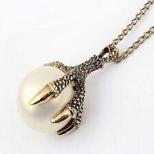 Unique Women Men Punk Gothic Eagle Claw Pearl Long Chain Pendant Necklace Gift