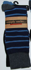 Simply Socks Mens Dress Crew Socks Cotton Blend Blue Black 2 Pairs One Size