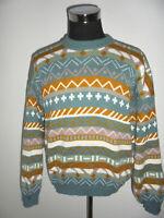 vintage sweater crazy pattern hip hop 80s strickpulli 80er wollpulli oldschool L