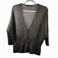 Eileen Fisher Gray Zip Dolman Sleeve Wool Sweater Womens Size S