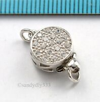1x  Rhodium plated STERLING SILVER CZ CRYSTAL ROUND 1-strand BOX CLASP #3009