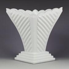 "Milk Glass Vase Art Deco 7 1/8"" Geometric Lines Elegant White Rare Depression"
