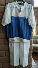 New listing Vintage Nwt Pierre Cardin 2 Piece Men Shirt pant Set 80's Tag Rare blue white Xl