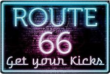 Route 66 Neon Sign Get Your kicks metal sign   305mm x 205mm    (sf) *NOT NEON!*