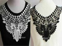 1Pc Fabric Polyester Venise Collar Neckline Lace Trim Applique Sewing Craft DIY