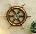 18'' Brass Six Spoke Ship Wheel Wooden Stripe Steering Captain Boat Pirate Brown