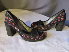 escarpins AXEL&ROSE cuir noir et toile tissée noir/rose 38