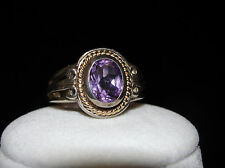 ESTATE M&GN STERLING SILVER & 14K GOLD AMETHYST STONE RING, SIZE 7.5- 6.7 GRAMS