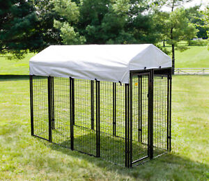 Welded Wire Dog Kennel Waterproof Cover Provides Shade Direct Sunlight Black