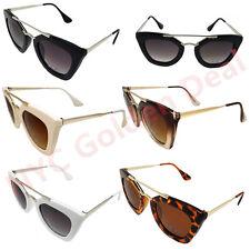 Women Square Double Metal Nose Bridge Cat Eye Vintage Retro Sunglasses 393
