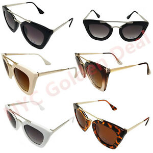 Women Square Double Metal Nose Bridge Cat Eye Vintage Retro Sunglasses 393