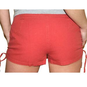 sexy HOT PANTS SHORTS  Raff-Bändchen HOSE rot Gr.36 S