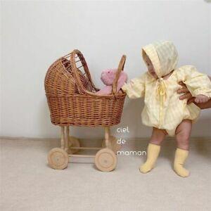 Retro Rattan Doll Stroller Toy Studio Photo Props Baby Carriage Children Room