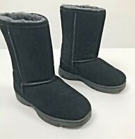 LAMO Womens Sheepskin lined Pull-on Suede Boots-Black-Size 6
