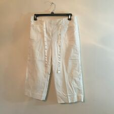 larry levine stretch womens capri pants size 12 white decorative pockets U9