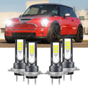 Combo H7+H7 LED Headlight Kit High Low Beam 6000K for Mini Cooper 2002-2006 4x