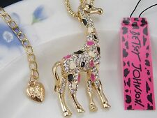 Betsey Johnson Cute fashion inlay Crystal Giraffe Pendant Necklace #A363L