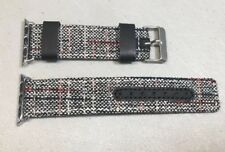 LINEN & LEATHER APPLE WATCH BAND - Black Red White TWEED 38mm READ
